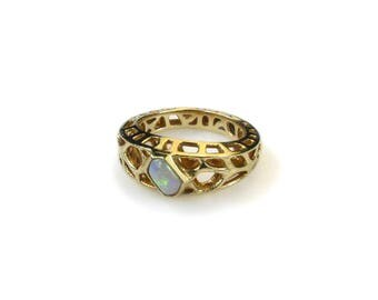 14K Yellow Gold and Opal One of a Kind Design Ring