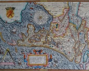 Netherlands, Holland; A. Ortelius-Hollandiae auctore iacobo antiquorum Catthorum Sedis Nova Descriptio (a) daventria-1570!!!! Replica!!!!