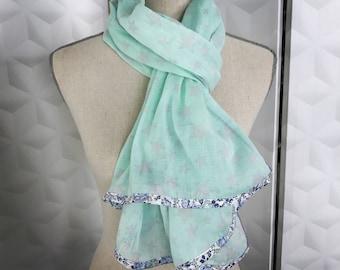 Mint green gauze scarf