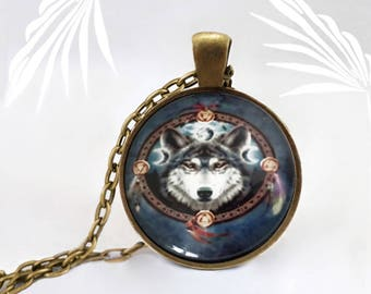Shield Wolf necklace, Medallion handmade, animal necklace