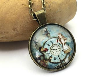 Alice blue collar necklace, Locket made by hand