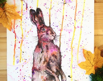 Original Artwork, Watercolour Hare