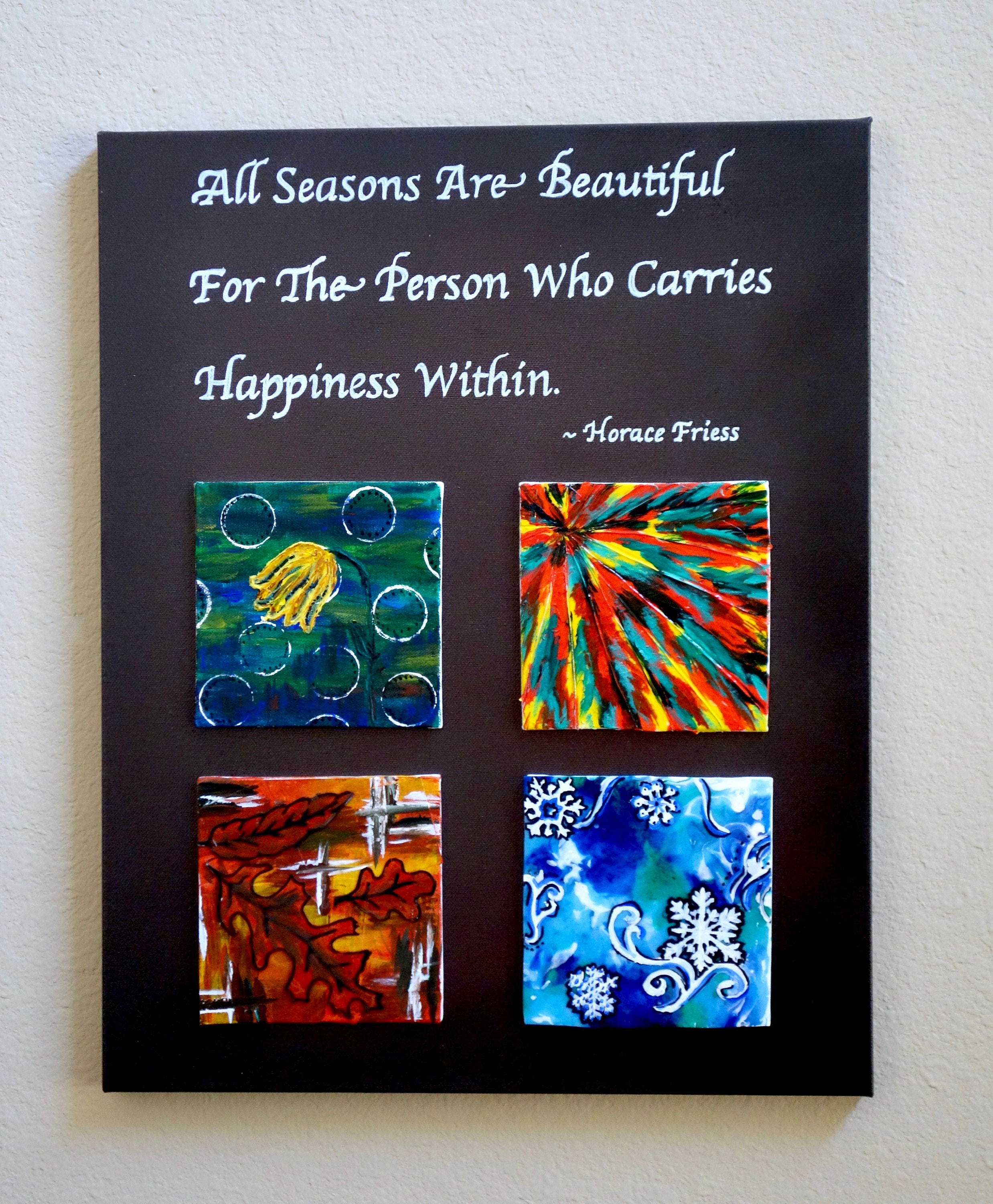 Quote Paintings The Four Seasons Acrylic Mini Paintings With Inspirational Quote
