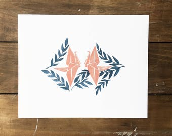 Origami Crane Watercolor Painting - Origami Crane Painting - Watercolor Painting - Kids Room Decor - Nursery Room Decor - Modern Wall Art