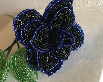 French Beaded Thin Blue Line Rose