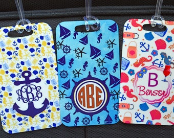Personalized Luggage Tag, Monogrammed Luggage Tags, Custom luggage Tag, Custom bag tag, Anchor Seahorse tag,  Monogram Bag Tag,Travel Gifts,