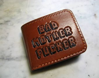 BAD MOTHER FUCKER, Carved Leather Wallet 11.5 х 9.5 см.
