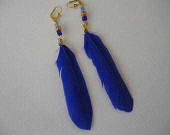 #Eté - electric blue flat feather earrings