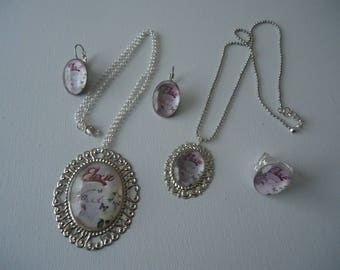 #Eté Locket necklace - Adjustable ring and earrings