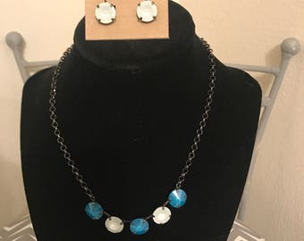 12mm ravioli black setting necklace and earrings