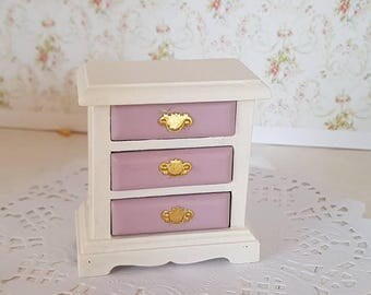 Dollhouse Miniature,Doll House Bedside Table,Two Tone Table,Three Drawer  Chest,