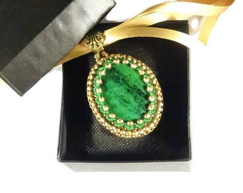 """The """"Thesaurus"""" Collection - Green and antique gold pendant - MemetJewelry - hand embroidered pendant"""