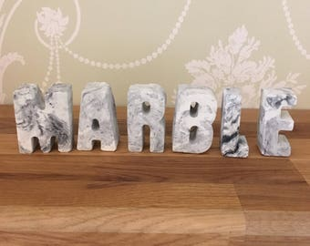 Personalised concrete marble letters, concrete letters, marble, marble letters .