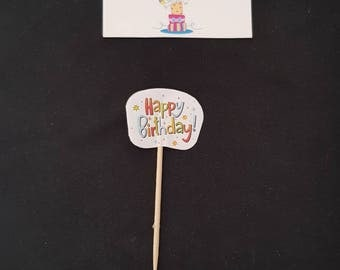 12 Happy Birthday Cupcake Toppers