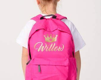 Personalised Backpack Kids Hot Pink Glitter