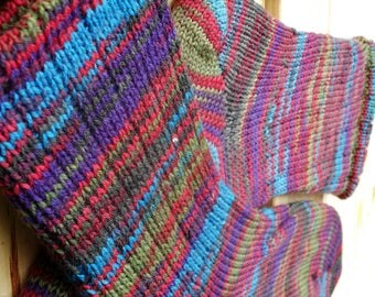 Handmade striped socks - Colorful striped socks, hand-cranked wool, purples and greens and blues