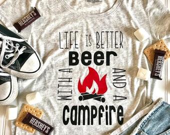 Life is Better with Beer and Campfire Shirt, camping shirt, funny shirt, summer shirt, custom vinyl shirt, beer campfire tee, nature shirt