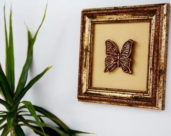 Butterfly Home Decor/ Unique Wall Art Ideas/ Bath Wall Art/ Brown Wall Art