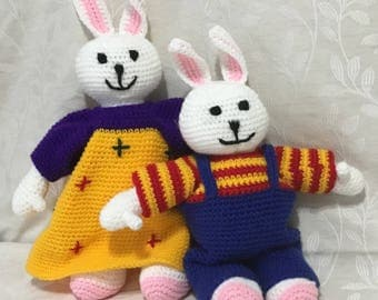 Crocheted Max and Ruby Dolls