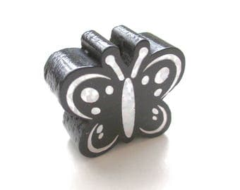 Butterfly Glitter - black wooden bead