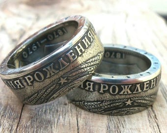 Coin Ring USSR - 1 Ruble Lenin - Rings from Coins - Lenin - Russian coin ring- 1970