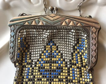 1920s Geometric Whiting & Davis Enamel Handbag//Art Deco Painted Metal Mesh Purse//Flapper Purse//Enamel Mesh Purse