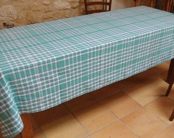 Great 1960u0027s Green And White Vintage Gingham Checkered Tablecloth Bistro