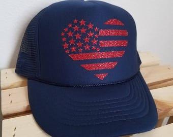 Glittery American Flag Heart Snapback hat