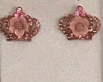 Pink Winning Crown Austrian Crystal Earrings