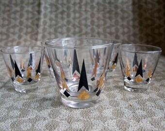 Mad Men Era ~ Mid Century Modern Bar Glasses ~ Black & Gold Vintage Tumblers