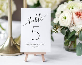 Wedding Table Number Card Template | Printable Table Number Card | DIY Table Card Printable | Printable Table Card | Savannah Collection