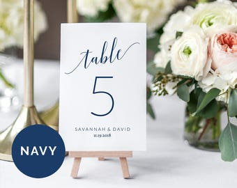 Navy Wedding Table Number Cards Template   Printable Wedding Table Number Cards   DIY Wedding Table Number Card   Editable Table Number Card