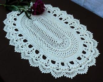 Oval white crochet doilyLarge doilyLace doilyHome decorTable embellishmentCrochet table runnerHandmade doilyTextured doilyWedding decor