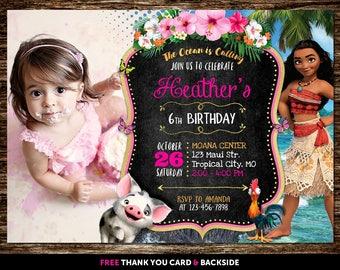 Moana Invitation With Photo, Moana Invitation With Picture, Moana Birthday Invitation With Photo, Moana Invitation Printable, Moana Invite