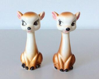 Vintage Deer Salt and Pepper Shakers - Kitsch Fawns - Ceramic - Made in Japan