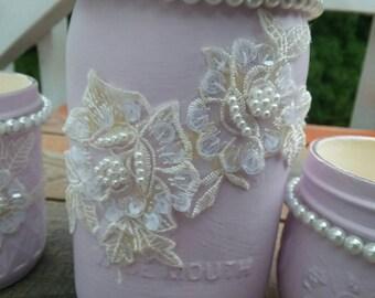 4 pc Lilac, Peals & Lace Shabby Chic, Cottage Decor Vanity, Desk set.