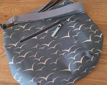 Handmade 'Harbour' cross-body bag – slate blue seagulls print/natural organic with blue lining