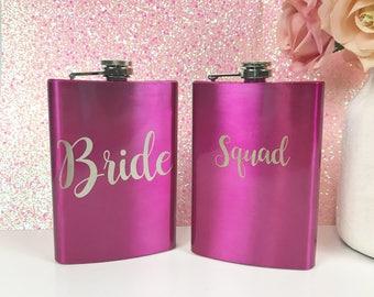Bachelorette flasks- Bridesmaid Flask, Engraved Bridal Flask, Engraved Flask, Personalized Bridesmaid Flask, Custom Flask, Pink Flask, Flask