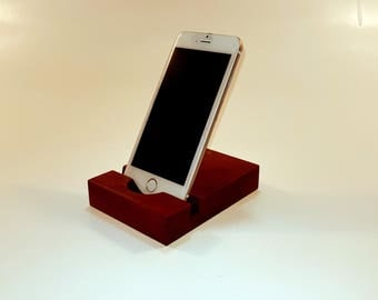 Smartphone stand. iPhone stand. Wood iPhone holder. Wooden iPhone Stand. Red cherry iPhone holder. Red cherry phone stand.