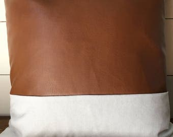 Modern faux leather pillow cover