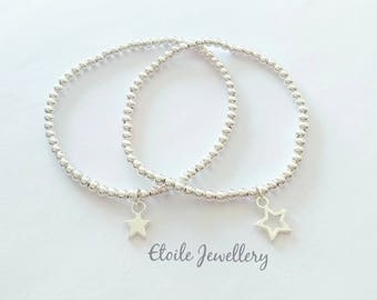 Silver Star Bracelets, Bracelet Set, Beaded Bracelets, Stacking Bracelets, Stretch Bracelets, Silver Bracelets Women, Star Jewellery