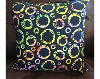 Bright Colored Circles on Black Background Pillow