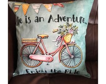 Life is an Adventure Bike Throw Pillow