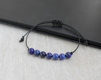String Bracelet Lapis Lazuli Bracelet Protection Bracelet Third Eye Chakra Bracelet Gift For Her Beaded Womens Bracelet Friendship Bracelet