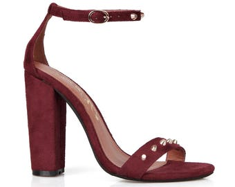 Toi et Moi Gelato-01 Slim Ankle Strap Women's Chunky Heel in Red