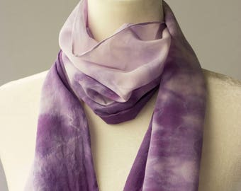 Ultra Violet Crepe de Chine Silk Scarf, hand-dyed, beautiful gift for her