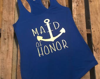 Nautical Maid Of Honor Ladies Blue Flowy Terry Razorback Tank Top / Bachelorette Party Tank Top / Bachelorette Party Cruise / Maid Of Honor