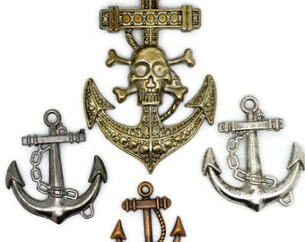 collection of anchors, metal anchors, anchor pendants, anchor for earrings, anchor for necklace, anchors for crafts