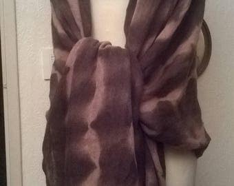 Acrylic and cotton shawl tie and Brown die and lace