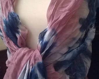 Viscose and cotton ruffled scarf